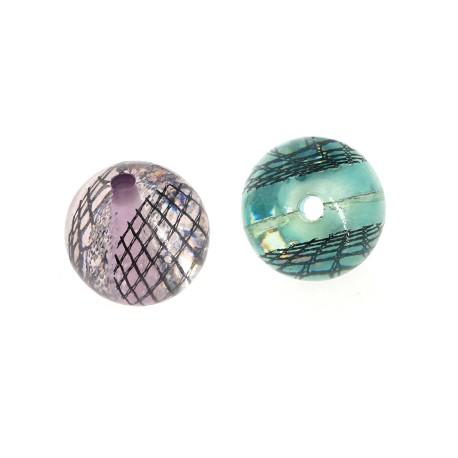 Resin Bead Round Ball w/ Fabric 18mm (Ø3mm)