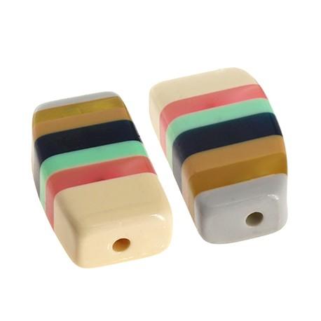 Resin Bead Rectangular w/ Stripes 22x39mm (Ø3mm)
