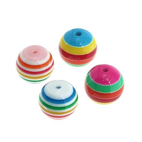 Resin Bead Round Ball w/ Stripes 20mm