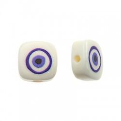 Perlina di Resina Piatta Quadrata Occhio Portafortuna 10mm (Ø1.6mm)