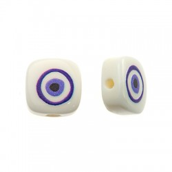 Resin Bead Square Flat Evil Eye 10mm (Ø1.6mm)