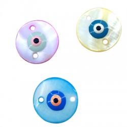Κοχύλι Στοιχείο Στρογγυλό με Μάτι Σμάλτο για Mακραμέ 20mm