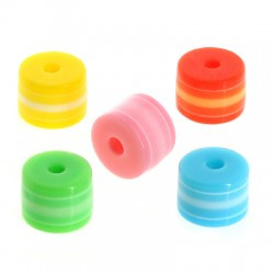 Polyester Bead Washer Tube w/ Stripes 8x6mm