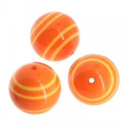 Polyester Bead Round w/ Stripes 20mm