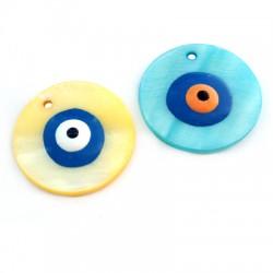 Ciondolo in Madreperla Rotondo con Occhio Portafortuna Smaltato 30mm
