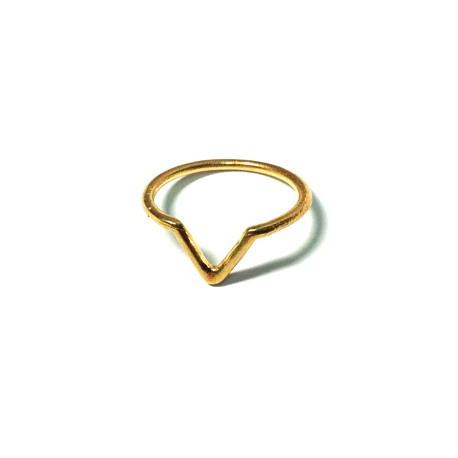Brass Cast Finger Ring Small 'V' 17mm