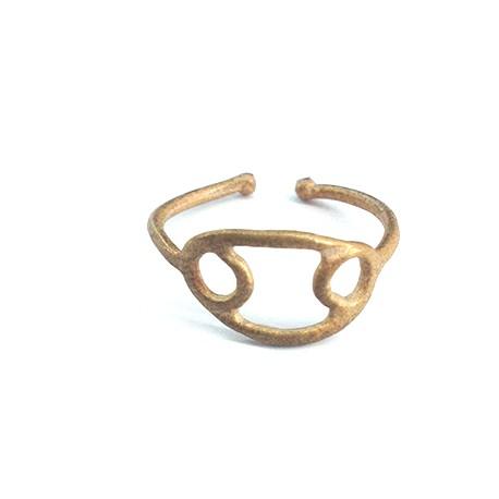Μεταλλικό Μπρούτζινο Χυτό Δαχτυλίδι Ζώδιο Καρκίνος 20mm