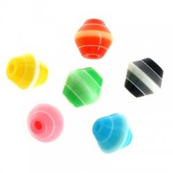 Polyester Bead Rhombus Cone w/ Stripes 8mm