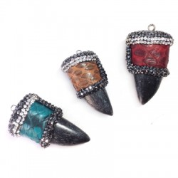 Snake Leather Tooth Pendant 14x70mm with Strass