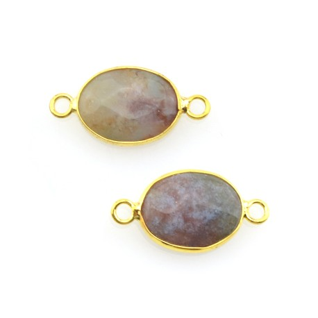 Brass Oval Setting 14x19mm With Egg Yellow Stone