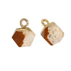 Pendentif cube facetté en pierre semi-précieuse 10mm
