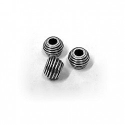 Brass Bead Ball w/ Stripes 10x7.6mm (Ø4mm)