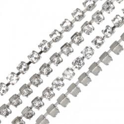 Μεταλλική Ατσάλινη Αλυσίδα Τρέσα με Στρας 2.1mm