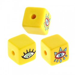 Acrylic Bead Cube w/ Evil Eye 15.5mm (Ø3mm)