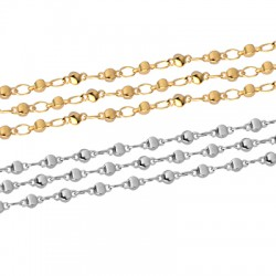 Brass Chain w/ Round Beads 3x7mm