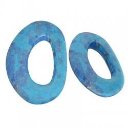 Ceramic Pendant Oval w/ Enamel 63x43mm