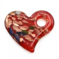 Γυάλινο Μοτίφ Καρδιά (τύπου Μουράνο) 36x44mm