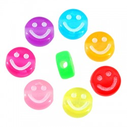 Acrylic Bead Flat Round Smile Face 10mm/5mm (Ø2mm)