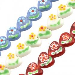 Glass Bead Heart Flower 25x25mm (20pcs) (Ø2mm)