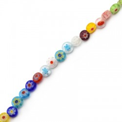 Millefiori Glass Bead Flat Round 6mm (65pcs/string)