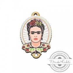 Ξύλινο Στοιχείο Οβάλ Frida Kahlo για Μακραμέ 20x25mm