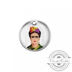 Brass Charm Round Frida Kahlo 20mm