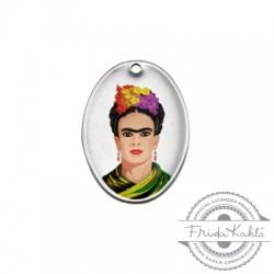 Brass Charm Oval Frida Kahlo 21x29mm