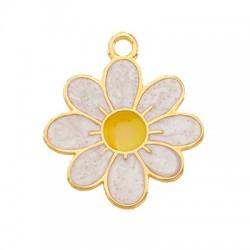Μεταλλικό Ζάμακ Χυτό Μοτίφ Λουλούδι με Σμάλτο 20x19mm