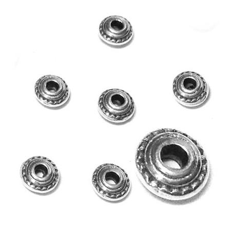 Perle Rondelle en métal/zamac 5x3mm (Ø 1.4mm)