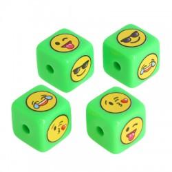 Acrylic Bead Cube w/ Smile Face 15.5mm (Ø3mm)