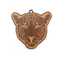 Wooden Pendant Leopard Head 49x44mm