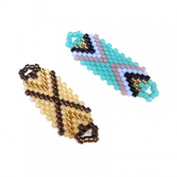 Metal Bracelete with Miyuki Crystal Beads 14x30mm