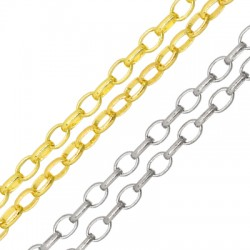 Brass Link Chain Oval Rings 3.2x5mm