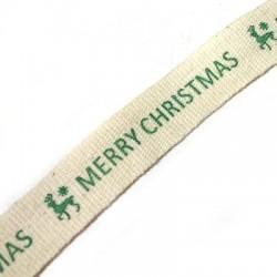 Cotton Ribbon Merry Christmas 15mm (~9.5mtr/spool)