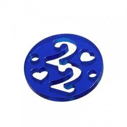 "Plexi Acrylic Connector Lucky Charm Round ""22"" 20mm"