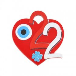 "Plexi Acrylic Lucky Charm Heart w/ Evil Eye ""22""32x34mm"
