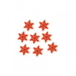Plexi Acrylic Flatback Round Lucky Snowflake 15mm