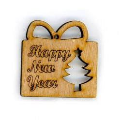 """Wooden Pendant Christmas Gift """"Happy New Year"""" 50mm"""