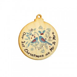 Wooden Pendant Lucky Round  94x80mm