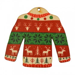 Wooden Lucky Pendant Christmas Pullover Sweater 78x75mm