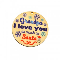 """Wooden Lucky Pendant Round """"Grandpa I love you"""" 70mm"""