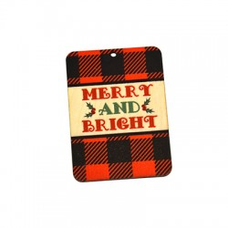 """Wooden Lucky Pendant """"Merry & Bright"""" 54x75mm"""