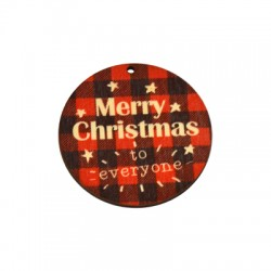 """Wooden Lucky Pendant Round """"Christmas"""" Stars 60mm"""