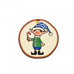 Wooden Lucky Pendant Round Elf Candy 54mm