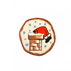 Wooden Lucky Pendant Round Chimney Santa Claus 56x59mm