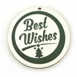 """Wooden Christmas Pendant Round """"Best Wishes"""" 60mm"""