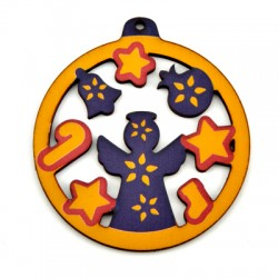 Wooden Lucky Pendant Round w/ Angel 72mm