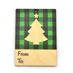 """Wooden Card Christmas Tree """"From - To"""" 60x85mm"""