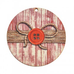 Wooden Lucky Pendant Round Bow 65mm