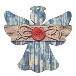 Wooden Lucky Pendant Angel Bow 83x85mm